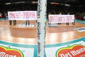 Il big match tra Marche e Umbria, regioni colpite dai sismi di agosto e ottobre.